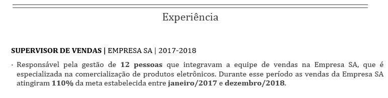 Experiência no currículo - MarQPonto
